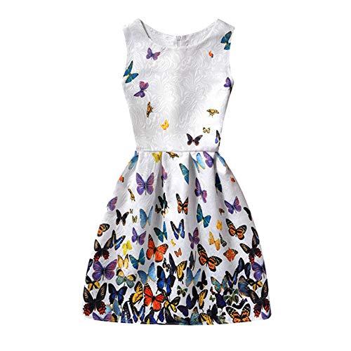 LSHEL Mädchen Frühling und Sommer Neue Schmetterling Drucken Weste Kleid, Bunter Schmetterling, Größe:116 (Label:130)