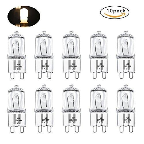 Vicloon 10 Stücke Halogen-Stiftsockellampe G9, Warmweiß Halogenlampe 60W 220V-240V (9 Stück-zähler)