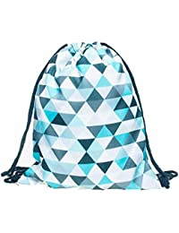 Blue : Culater® Fashion Unisex 3D Printing Bags Drawstring Backpack Storage Bag Travel Bag (Blue)