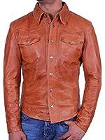 Biker jacket veste de moto pour homme en cuir type chemise