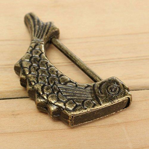 Tily geschnitzt Fisch Antike chinesische Old Style Jewelry Box Truhe Decor Lock Vorhängeschloss + Schlüssel
