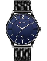Curren Hombres y mujeres Reloj de cuarzo minimalista de moda negra con display de fecha y pulsera milanesa