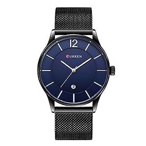 CURREN uomini e donne negozio di moda minimalista nero orologio al quarzo con datario e Milanese Bracciale
