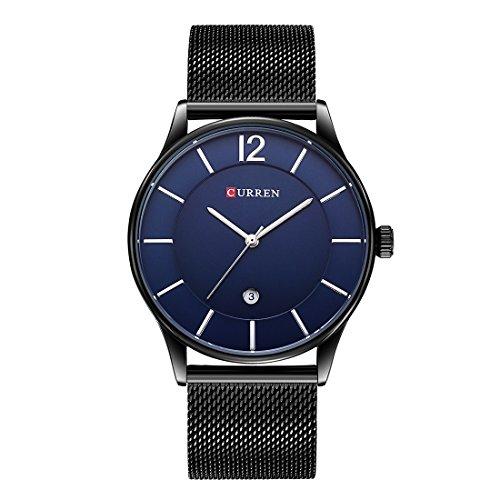 Herren uhren Schwarzes Minimalistische Ultrad¨¹nne Armbanduhr unisex Quarzuhr mit Datumsanzeige und Milanese Armband