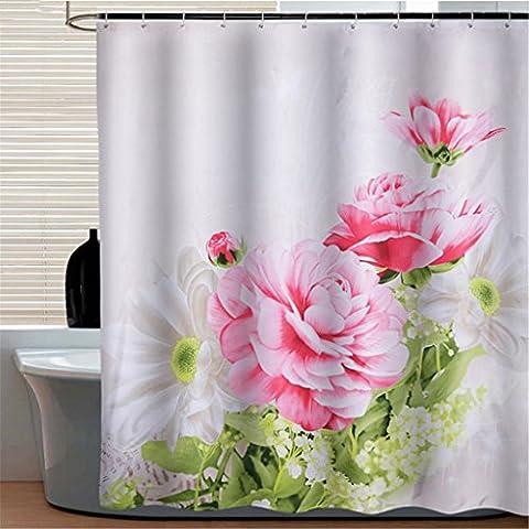 Casa & Curtain Rideaux de douche imperméables modernes Produits de salle de bain 100% Polyester Flower Peony Bathroom Shower Curtain ( taille : 200cm wide180cm high )