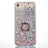 Funda iPhone SE / 5S con Anillo Soporte, Liquido Glitter Protectora Carcasa Funda Duro Brillo Quicksand Anti-arañazos Brillante Case con 360 Grados Giratorio Ring para iPhone 5S / 5 / SE, Plata