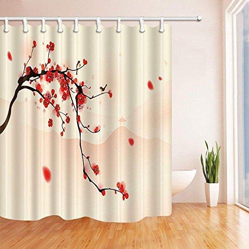 cdhbh asiatischen Vorhänge Dusche für Badezimmer japanisch rot Cherry Blossoms Sakura Zwei Vögeln stehend auf Ast Polyester-Watercolor-Wasserdicht Bad Vorhang für Dusche Haken enthalten 180x180cm