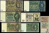5-10-20-50-100-1000-Reichsmark-1929-1945-Deutsche-Reichsbank-Reproduktion