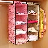 Home Style India Hanging 4-Shelf Closet Cloth Organizer, 30 X 30 X 80 cm Multi-Coloured