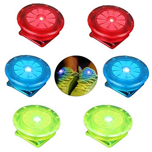 Linlook Reflektoren Blinklicht für Kleidung/Schulranzen/Schuhe, LED Sicherheitslicht Clip Beleuchtung für Kinder Läufer Kinderwagen Hund Fahrräder, 6 Stück (Rot Blau Grün)