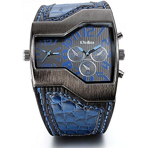 JewelryWe Reloj militar y deportivo con doble mecanismo de cuarzo, correa de cuero, para hombre con subdiales decorativos