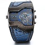 JewelryWe Reloj militar y deportivo con doble mecanismo de cuarzo, correa de cuero, para hombre con...