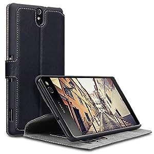 Sony C5 Ultra Cover, Terrapin Étui Housse en Cuir Ultra-mince Avec La Fonction Stand pour Sony Xperia C5 Ultra Coque Cuir - Noir