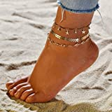 LnLyin donne e ragazze Multi Layer Stella Ciondolo Perle Cavigliera Bracciale Stella nappe catena caviglia braccialetto a piedi nudi sandalo spiaggia piede gioielli