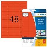 Herma 4367 Etiketten farbig, ablösbar (45,7 x 21,2 mm auf DIN A4 Papier matt) 960 Stück auf 20 Blatt, rot, bedruckbar, selbstklebend