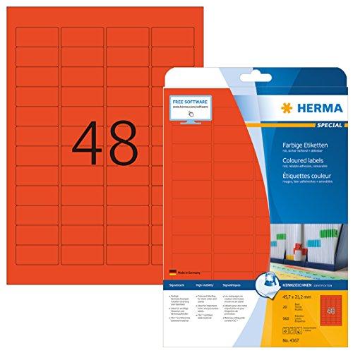 Herma 4367 Farbetiketten ablösbar, rot (45,7 x 21,2 mm) 960 Aufkleber, 20 Blatt DIN A4 Papier matt, bedruckbar, selbstklebend