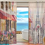 FFY Go Sheer Cortina de Gasa para Ventana, Diseño Vintage de París, Material Suave para Dormitorio, Sala de Estar, Cocina, Decoración de la Puerta del hogar, 2 Paneles de 198 x 139,7 cm