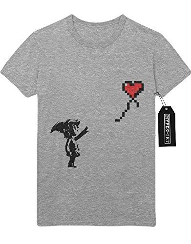 """T-Shirt The Legend of Zelda """"LINK 8BIT HEART BALLOON"""" H100018 Grau"""