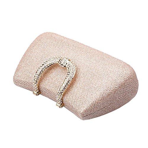 Klassische Damen Satin Abendtasche Unterarmtasche Handtasche mit Elegant Funkelndem Strassbesatz (Champagner) Kaxidy bD1U2yjL