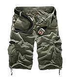 huateng Herren Sommer Retro Casual Cargo Shorts Multi Taschen