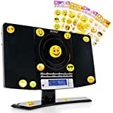 Chaîne stéréo mini réveil lecteur laser CD MP3 radio noir autocollants smiley
