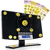 etc-shop Musik Stereo Anlage Radio Kinder Jungen CD Player im Set Inklusive Smiley Aufkleber