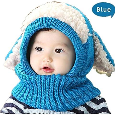 Unisex inverno bambino ispessisce orecchie del cane caldo Knit Beret Cap , blue