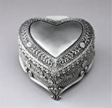 Cuzit, mini carillon decorativo in metallo a forma di cuore, stile antico vintage, con decorazione in rilievo a fiore, per decorare casa o ufficio, o regalo di compleanno o San Valentino
