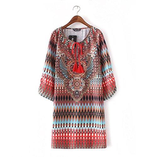 Amlaiworld Femmes Vintage Bohème imprimé robe Style ethnique Multicolore