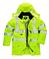 Portwest S427YERL Hi-Vis 7-in-1 Traffic Jacket, Regular, Size Large, Yellow