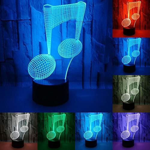 RUMOCOVO Luz De Noche Nota Musical Lámpara 3D Luces De Dormir Niños Cumpleaños Presente Amante Regalos Música Lámpara Iluminación