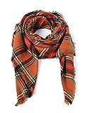 VIISHOW Damen XXL Oversized Dickes Herbst Winterschal Deckenschal Weich Warm Wraps Schal (F Orange) (F Orange)