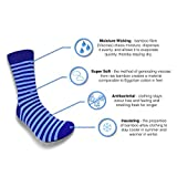Bamboo Socks by PandaWear | Nautical Blue Stripes, 4 Styles | Ultra Soft & Anti Odour. Mens.