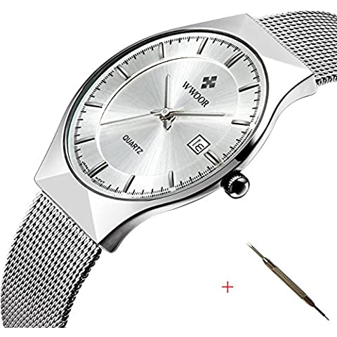 Affute-Orologio Fashion da uomo, analogico, al quarzo, in rete sottile giapponese Movt data, orologi da polso, colore: bianco - Date Dress Orologio Da Polso