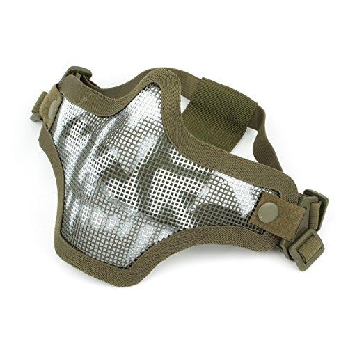 GES Outdoor Taktische CS Wire Mesh Maske Airsoft Mesh Stahl Halbe Gesichtsmaske mit Camouflage für Airsoft Shooting Paintball (Grüner Schädel) (Wire Mesh Band)