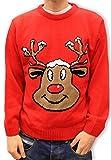 Jersey Navidad Retro Novedad - Reno Rojo Sonriente - Unisex Para Hombres y Mujeres