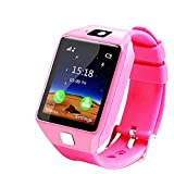 Ears Children Smart Watch Kinder Smart Watch GPS Tracker IP67 Wasserdichte Fitness Uhr SOS Mit Kamera Wrist Watch Sport Male and Female Students Adults Waterproof Smartphone Multifunction (Rosa)
