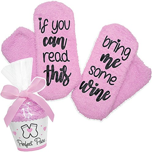 DAYOLY If You Can Read This Bring Me Some Wine Socks - Perfect Pairs - Comfortable Fuzzy Warm Cotton Socks Gift Idea For Mother, Wife Friend Women Novelty Romantic Birthday & Housewarming Present