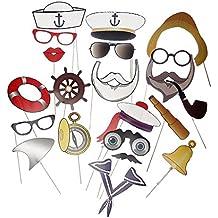 58725efe29841 Perfeclan 20er-Set Photo Booth Props Fotorequisiten Foto Accessoires mit  Sailor Muster