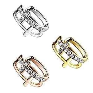 beyoutifulthings Ohr-klemme DOPPEL KREUZ PAVÉ ZIRKONIA clear Ohringe Ohr-ringe Ohr-clip Fake-Piercing Messing Silber Gold Roségold