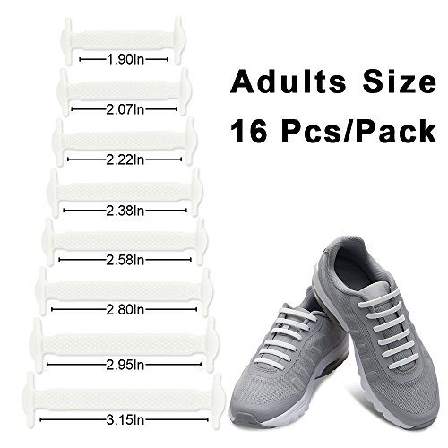 Homar sin corbata Cordones de zapatos para niños y adultos Impermeables cordones de zapatos de atletismo atlética de silicona elástico plano con multicolor de los zapatos del tablero Sneaker boots (Adult Size White)