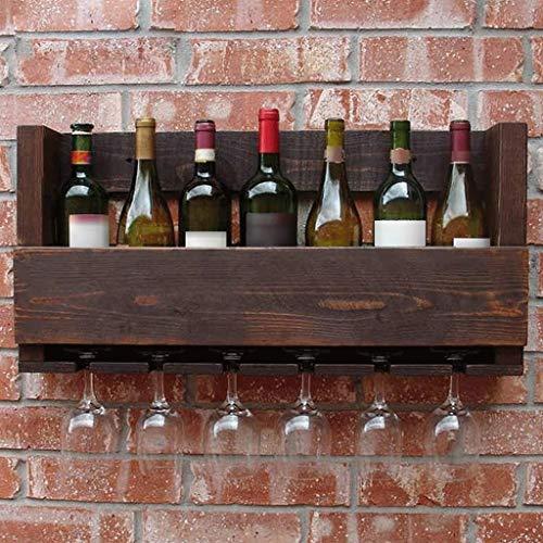LYN-UP Weinregal, An der Wand befestigtes Wein-Halter-hölzernes europäisches Retro- Wein-Glas-hängendes Regal 70 * 33 * 12cm - Stapelbare Glas-wand-regal