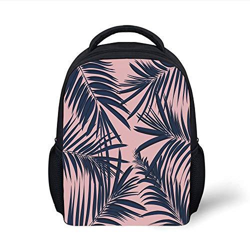 Kids School Backpack Navy Blush,Summer Exotic Floral Tropical Palm Tree Leaf Banana Plant Hawaii Decorative,Night Blue Pale Pink Plain Bookbag Travel Daypack - Floral Drawstring Shoulder Bag