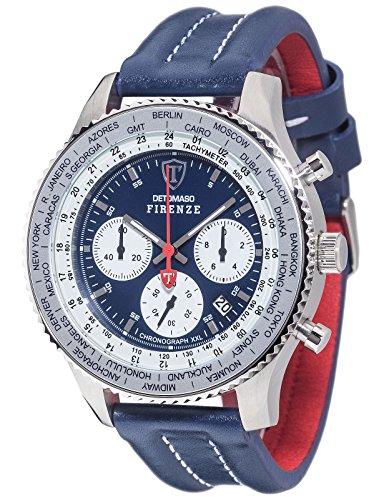 DETOMASO FIRENZE XXL Herren-Armbanduhr Chronograph Analog Quarz blaues Lederarmband blaues Zifferblatt DT1045-G