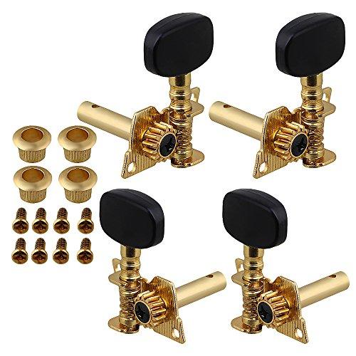 Yibuy Golden 2R2L UKULELE / 4 Saiten Gitarre Twill Stimmwirbel Maschinenoberteil mit Unterlegscheibe Bush 4er Pack Gold-twill
