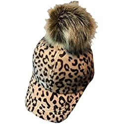 Gorra de BéIsbol Del Pompom, Fascigirl Sombrero de BéIsbol de Adultos Leopardo CáLido Sombrero de Moda Llanura Gorra Deportiva