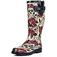 Spylovebuy Flat Festival Wellies Wellington Knee High Rain Boots Skull & Roses UK 3