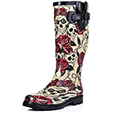 'Spy Love Buy – Stivali Wellington da Pioggia in Gomma Savannah, (Skull & Roses), 39 EU
