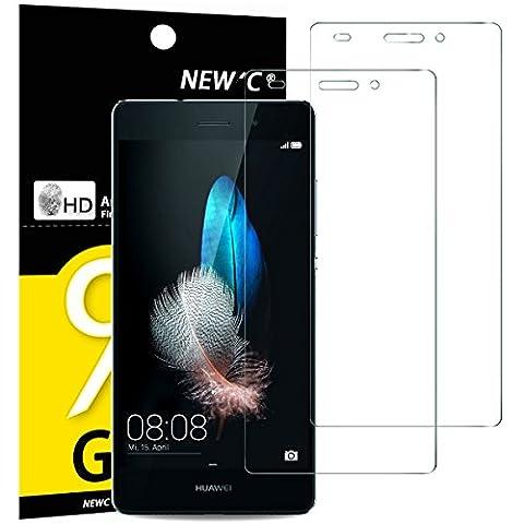 2 Pack Verre Trempé Huawei P8 Lite, NEWC® Film Protection en Verre trempé écran Protecteur vitre - ANTI RAYURES - SANS BULLES D