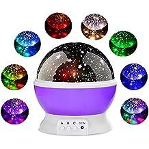 Lampada Proiettore Stelle Luce Notturna Bambini con 9 Colori Lampadine LED,360 di rotazione Lampada di Illuminazione Notturna Stellate Cosmos Regali di Valentine's Day Bambini Compleanni Feste (porpora)